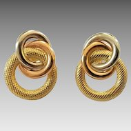 Vintage 18k Tri-Color Gold Interlocking Circles Pierced Earrings