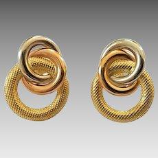 Vintage 18k Tri-Color Gold Interlocking Circles Pierced Earrings