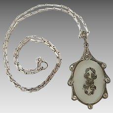 Vintage Art Deco Sterling Silver Paste Camphor Glass Necklace