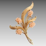Vintage 14k Gold Carved Angel Skin Coral Flower Pin Brooch