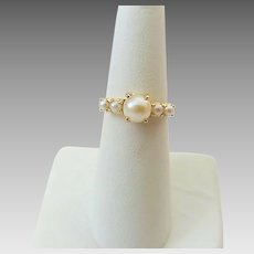 Vintage 14k Gold Cultured Pearl Ladies Ring Size 6 1/2