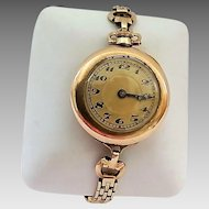 Antique Ladies Wadsworth Gold Filled 15 Jewel Swiss  Fob Style Early Wristwatch Gold Filled Working