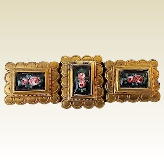 Vintage Edy Depose Paris Gilt Brass Hand Painted Porcelain Roses Pin Brooch