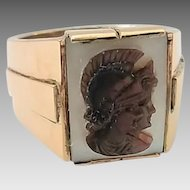 Vintage 900 Silver 12k Gold Shell Double Warrior Abalone Cameo Men's Ring Size 10 1/2