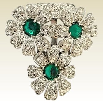 Vintage Art Deco Pot Metal Paste Rose Cut Green Glass Stones Flower Trio Dress Clip