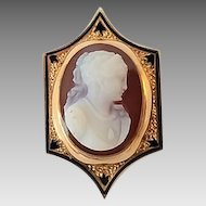 "Antique Victorian 14k Hardstone Cameo Taille d'Epargne Black Enamel Watch Slide ""M. Lane"" Engraved"