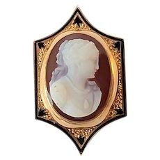 "Antique Victorian 14k Hardstone Cameo Taille d'Epargne Black Enamel Watch Slide ""M. Lane"" Engraved"