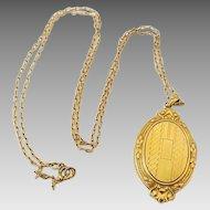 Vintage Hayward Gold Filled Oval Fancy Embossed Locket On Chain Original Foil Tag