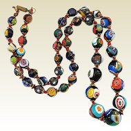 Vintage Colorful Italian Millefiori Art Glass Graduated Bead Necklace