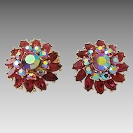 Vintage Crown Trifari Red Aurora Borealis Rhinestone Floral Cluster Clip Earrings