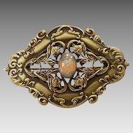 Antique Victorian Ornate Brass Floral Frame Dragons Breath Art Glass Sash Pin Brooch