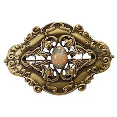 Antique Victorian Ornate Brass Floral Frame Dragons Breath Art Glass Sash Pin Brooch