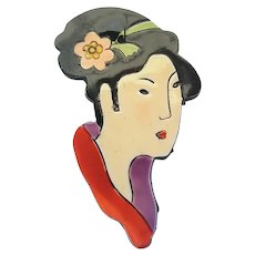 Vintage Germany Painted Celluloid Asian Lady Face Head Pin Brooch