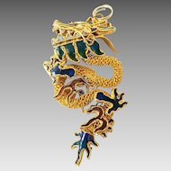 Vintage Gold Plated Enamel Chinese Export Dragon Pendant Charm