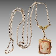 Vintage 10k Gold Carved Shell Cameo Lavaliere Necklace