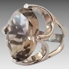 Vintage Sterling Silver Uncas Smokey Quartz Ladies Ring Size 5 3/4