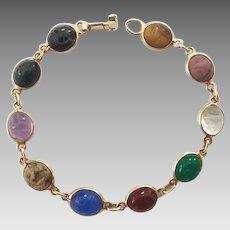 Vintage 14k Gold Carved Semi-Precious Stone Scarabs Bracelet