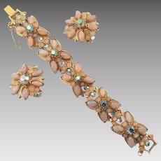 Vintage Harlequin Glass Faux Fire Opal Rhinestone Bracelet & Earrings Set