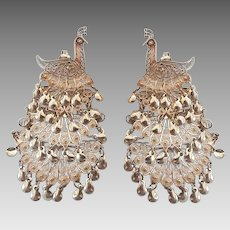 Vintage Sterling Silver Filigree Articulated Four Tiers Peacock Dangle Pierced Earrings