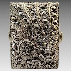 Vintage Rhodium Plated Sterling Silver Marcasite Theda Ring Size 6 3/4