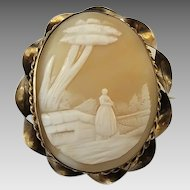 Antique Victorian Gold Gilt Brass Rebecca At The Well Shell Cameo Pin Brooch