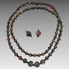 Vintage Quality Millefiori Venetian Murano Bead Necklace Earrings Set