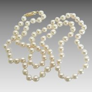 """Vintage 14k Gold 6mm Cultured Pearl Individually Knotted 26"""" Necklace"""
