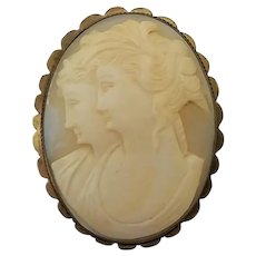 Vintage Gilt Brass Carved Shell Double Cameo Pin Brooch Pendant