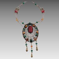 Vintage Colorful Czech Glass Stone Filigree Festoon Dangle Necklace
