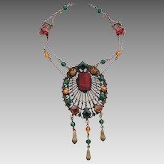 Vintage Colorful Czech Glass Stone Filigree Festoon Dangle Necklace