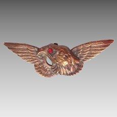 Antique Victorian Era Gilt Brass Eagle Figural Watch Fob Pin Brooch