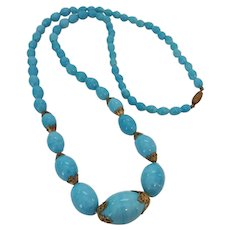 On Hold for Betty Vintage 1930's Czech Aqua Turquoise Colored Glass Bead Necklace