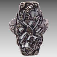Vintage Art Deco Era Sterling Silver Marcasite Ring
