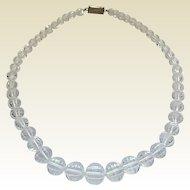 Vintage Art Deco Sterling Silver Japan Rock Quartz Crystal Bead Necklace