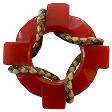 Vintage Red Carved Leather Trim Bakelite Life Preserver Nautical Themed Pin Brooch
