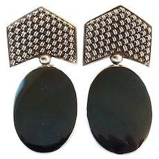 Vintage Retro 80's Sterling Silver Onyx Big Clip Earrings
