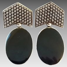 Vintage Retro 80's Sterling Silver Onyx Big Clip Earrings