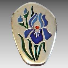 Vintage Israel 900 Silver Israel Enamel Orchid Flower Pin Brooch