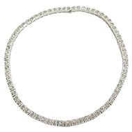 Vintage Art Deco Sterling Silver Paste Rhinestone Signed Dorsons Necklace