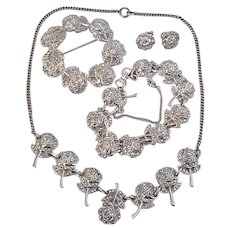 Vintage Rhodium Sterling Silver Marcasite Roses Pin Necklace Bracelet Earrings Set