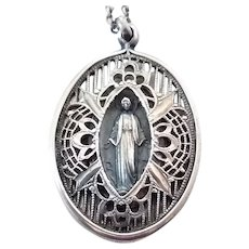 Vintage Sterling Silver Caged Filigree Miraculous Medal Blessed Mother Mary Charm on Chain