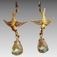 German Saphiret Glass Bird Figural Dangle Artisan Leverback Earrings