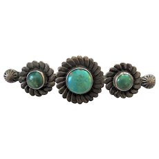 Vintage Large Sterling Silver Old Pawn Native American Turquoise Brooch Pin