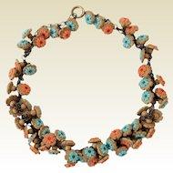 Vintage 1940's Wood & Plastic Flower Beads Dangle Fringe Necklace