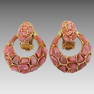 Vintage Swoboda Coral Pebbles Doorknocker Clip Earrings