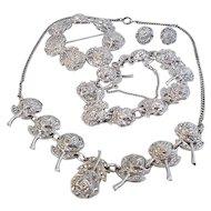Vintage Rhodium Sterling Silver Marcasite Roses Pin Necklace Bracelet Earrings Set Parure