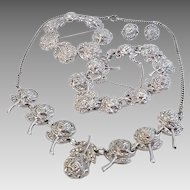 Vintage Rhodium Sterling Silver Marcasite Roses Pin Necklace Bracelet Earrings Set Parure