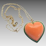 Vintage Ciner Goldtone Green Enamel Coral Glass Heart Pendant on Chain Necklace