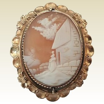 Antique Victorian Gold Filled Rebecca At The Well Cameo Flip Swivel Locket Brooch Pin