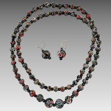 Vintage Quality Millefiori Venetian Murano Bead Necklace Earrings Set